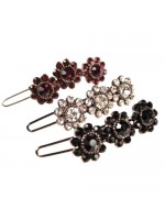Rhinestoned Three Flower Barrette