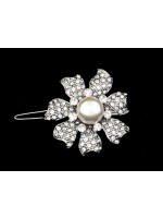 Barrette with Popping Pearl Center and Seven Petals Rhinestoned