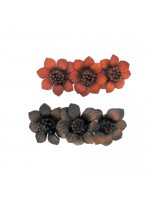 Three Leather Flowers Hair Clip