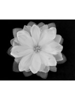 Fabric Flower Hair Clip with Three Rhinestones