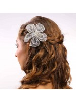 Fabric Lining Hair Clip Flower with a Crystal Flower Middle