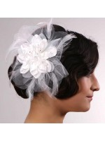 Fabric Flower Hair Clip with Feathers and Scattered Rhinestones