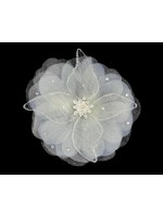 Hair Clip with a Striped Fabric Petal Flower
