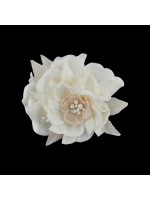 Hair Clip with a Fabric Flower with Pearls