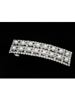 Rectangular Hair Clip with Rhinestoned Squares and Centered Pearls