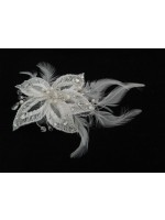 Hair Clip with Knitted Flower with Feathers and Pearls