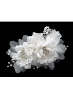 Hair Clip with White Cloth Pearl and Rhinestone Flowers