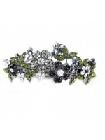 Silver and Black Various Sized Flowers Hair Clip with Green Leaves
