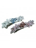 Side Glittered Leaves Hair Clip with Rhinestones