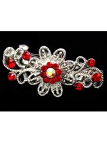Flower Center Hair Clip with Metal Petals and Rhinestones