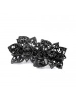 Two Black Rhinestone Flower Hair Clip