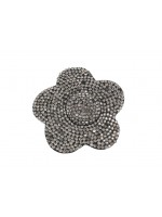 Fabric Black Rhinestoned Flower Hair Clip