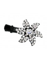 Flower Hair Clip with Six Rhinestone Petals