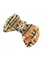 Hair Clip with a Plaid Pattern Bowtie and Rhinestones