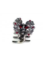 Hair Claw with Red Rhinestones and Swirl Designs