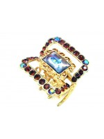 Gold Claw with Rectangular Middle Stone and Rhinestone Border
