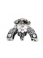 Silver Claw with a Rhinestone Flower with Swirl Design Claws