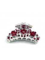 Red Rhinestone Hair Claw with Three Rhinestone Flowers