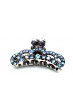 Metal Claw with a Blue Rhinestone Swirl Design