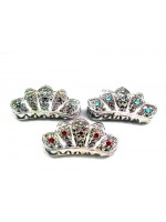 Crown Shaped Claw with Flower Centered Rhinestones