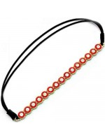 Stretchable Headband with Circles and Centered Rhinestones