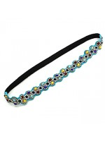 Stretchable Fabric Headband with Rhinestone Flowers