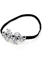 Stretchable Headband with Crystal Flower Middle and Swirl Design