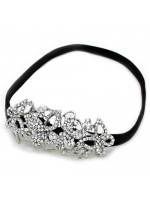 Stretchable Headband with Rhinestone Flowers