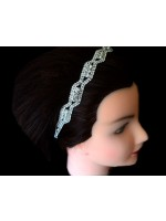 Stretchable Headband with Two Curved Rows and Crystal Slants