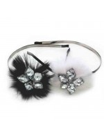 Feathered Flower Headband with Rhinestones