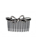 Tiny Flower Comb with Circular Rhinestone Pattern