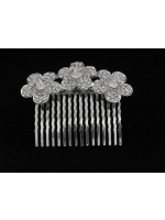 Comb with Three Flowers with Seven Rhinestones on Petals