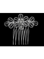 Floral Design Comb with Rhinestone Side Leaves