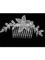 Hair Comb with a Big Flower with Wire Extending Leaves and Flowers