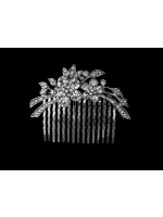 Two Rhinestone Flower Comb with Extending Leaves