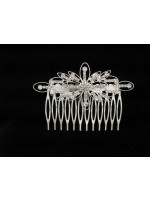 Large Rhinestone Flower Comb with Hollow Leaves