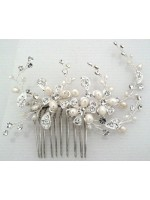 Comb with Rhinestone and Pearl Flowers and Vines