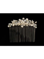 Floral Design Comb with Coin Pearls and Beads