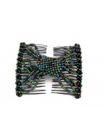 Green and Brown Beaded Double Comb