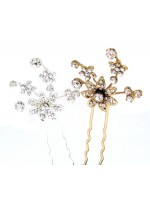 Rhinestone Flowers with Stems attached with Flowers Hair Pin