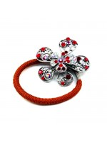 3-D Flower Ponytail Holder with a Movable Center
