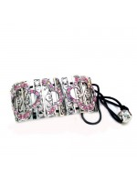 Rectangle Ponytail Holder with Pink Rhinestone Desing