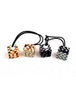 Checkered Cube with Rhinestones Ponytail Holder