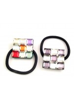 Ponytail holder with Glass Like Squares