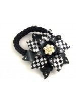 3-D Black and White Fower Ponytail Holder with Crystals