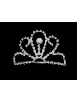 Tiara with Rhinestone Oval Curves and a Large Crystal