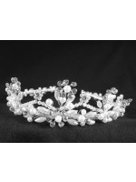 Tiara with Silk Base and Floral Designs with Pearls, Rhinestones and Crystals