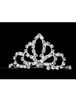 Tiara with Rhinestone Curved Narrow Ovals and a Crystal Middle