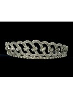 Tiara with Ovals Covered with Rhinestones and Crystals on each Oval