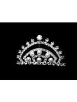 Tiara with a Pentagon Shape with Pearls Inside Curved Lines
